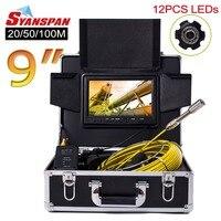 SYANSPAN 9 монитор 20/50/100 м Труба инспекции видео Камера, IP68 HD 1000TVL дренаж канализационного трубопровода промышленного эндоскопа Системы