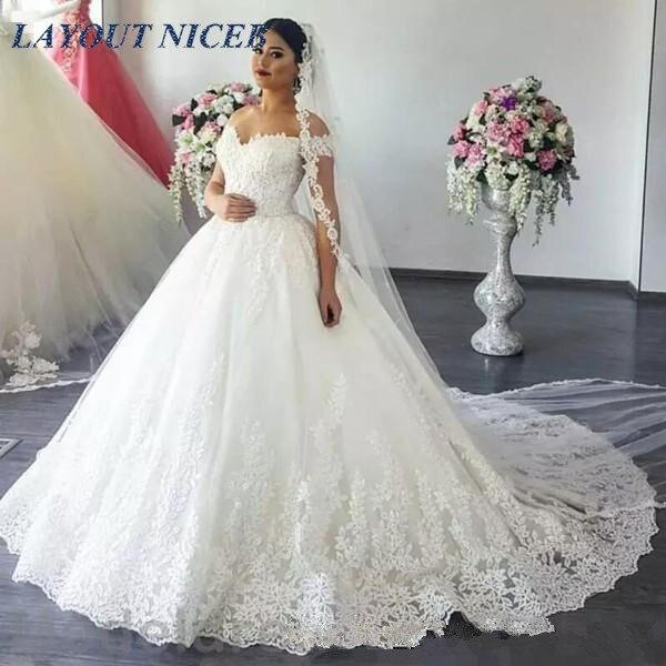 Custom Made Wedding Dress 2019 Robe De Mariage Lace Appliques Ball Gown Vestido De Noiva Off The Shoulder Ball Gown Bridal Gown