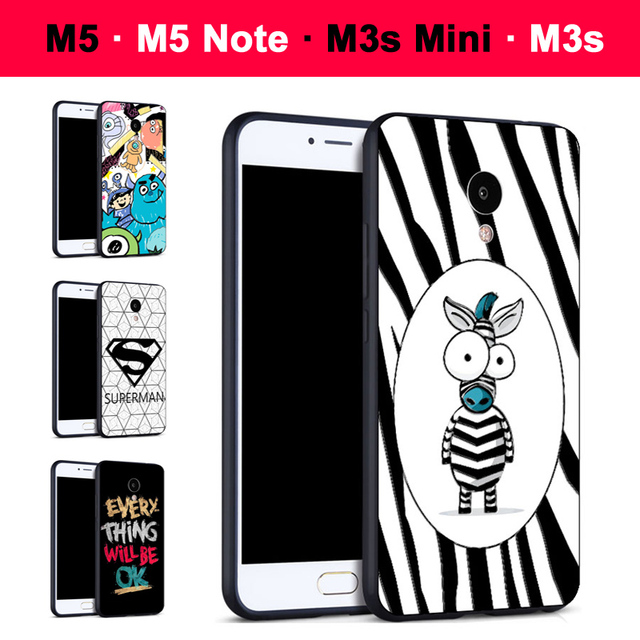 Meizu M5 Case 3D Relief Painting Silicone Soft Case Back Cover For Meizu M3s mini Meizu M 5 Cartoon Meizu M5 note Case Cover