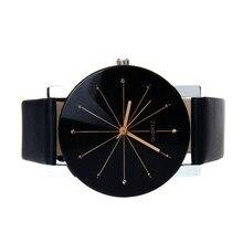 Women Leather Analog Quartz Round Case Time Clock