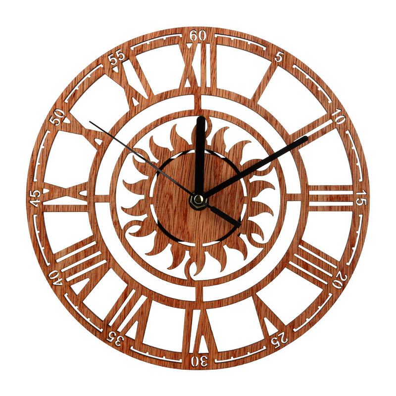 1 PC 23 Cm Dia. Vintage Wooden Wall Clocks Round Shape Sun Pattern Roman Number Digital Living Room Bedroom Home Decor Gifts