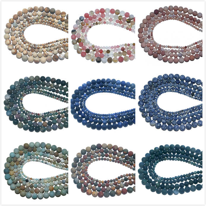 Wholesale Dull Polish Matte Natural Stone Bead  Amethysts Agates For Jewelry Making Charm DIY Bracelet Necklace 4 6 8 10 MM