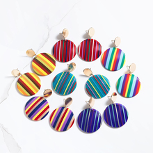 Colorful Stripe Acrylic Geometric Round Earrings For Women Gold Round Piece Drop Earrings Candy Color Fashion Jewelry Gifts 2019 red gray round colorful embroidery drop earrings