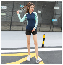 New women 's long – sleeved zipper hooded coat wholesale running yoga leisure fitness jacket sports coat autumn