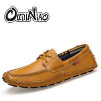 Men Shoes Casual Breathable Geniune Cow Leather Loafers British Designer Fashion Slip On Boat Shoes Plus