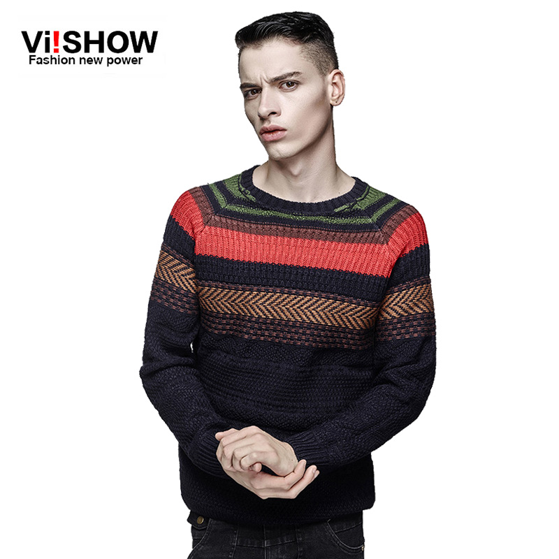 Viishow 2016 New Arrival Brands male chic sweater knitting Winter Men O-Neck striped Sweater pullover sweater outwear Plus size