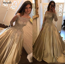 Elegant A-line prom dress long-sleeved satin lace applique formal party custom