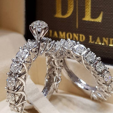 2019 New Arrival Fashion 2pcs/set Crystal CZ Stone Classic Rings Sets for Women Silver Luxury Wedding Ring Female Dropshipping newbark new one stacking ring set including 7pcs round rings nondetachable inlaid cz stone classic fashion women jewelry