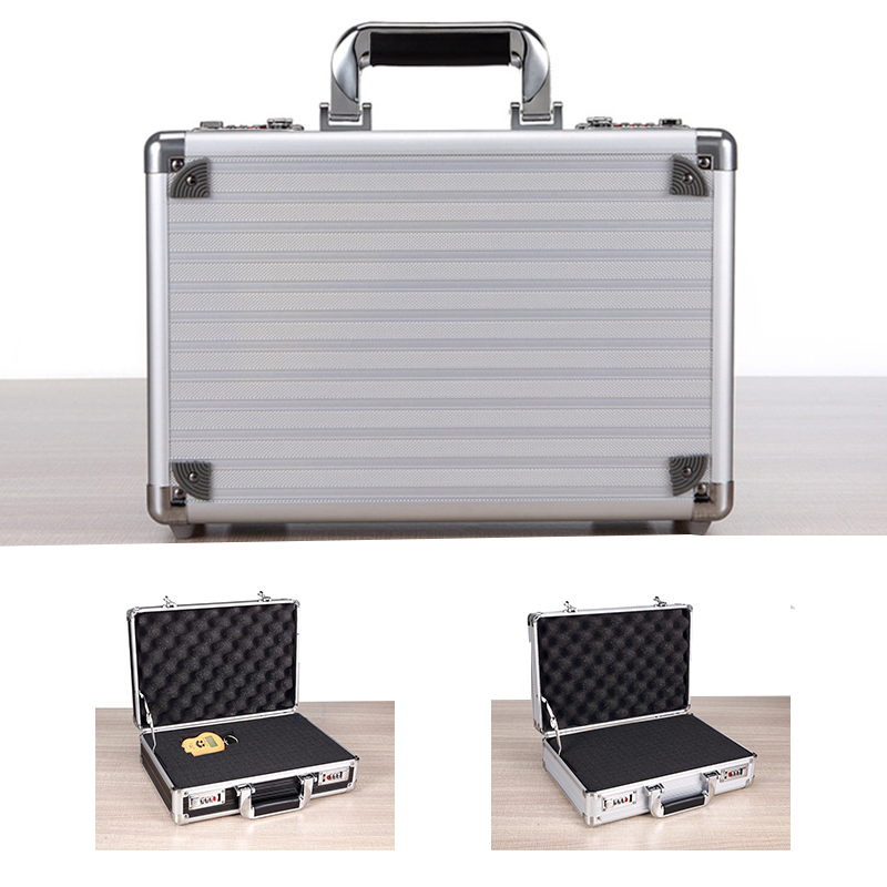 330x240x110mm Toolbox Portable Suitcase Aluminum Tool Box Instrument Safety Storage Case Instrument Box with Sponge Small
