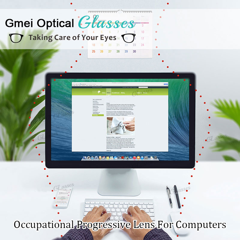 Gmei Optical 1.61 High Index Computer Office Work Multifocal Digital Free Form Progressive Lenses for Eye Protection 2 Pieces