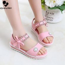 Chivry New 2019 Summer Girls Sandals Fashion Bowknot Rhinestone Princess Girls Shoes Children Kids Baby Beach Flat Sandals Shoes