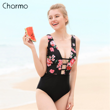 Charmo 2019 New Monokini Swimsuit Womens Deep V One Piece Swimwear Strappy One-Piece Floral Print Sexy Bathing Suits