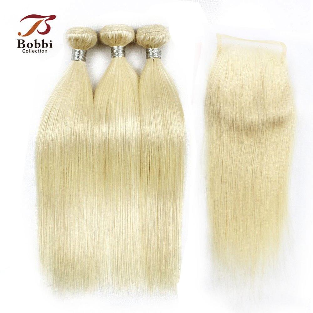 Color 613 Bleach Blonde Straight Human Hair 2/3 Bundles With Lace Closure Peruvian Remy Hair Weave Bundles BOBBI COLLECTION