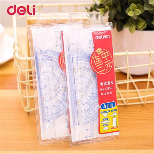 Deli Triangle Ruler Straight Rulers 4 Pieces A Set Office Material School Stationery For Students Drawing Supplies