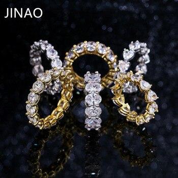 JINAO Buzlu Out Altın Gümüş Renk Tam Bling 1 Satır Kalp Yüzük Lüks CZ Düğün Zirkon Hollow Nişan Hip Hop takı Hediyeler