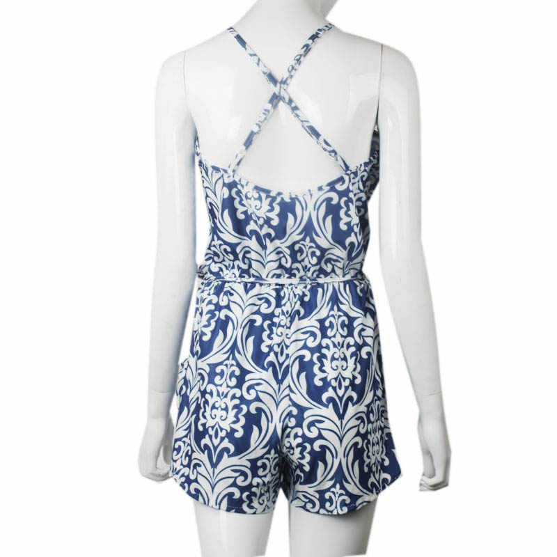 b927f034d3d0 ... Macacao Feminino Shorts Female Rompers Sexy Womens Jumpsuit Shorts Sexy  Backless Blue and white porcelain piece