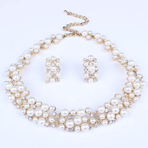 Jewelry-Sets Necklace Crystal Pearl Bridal-Dubai African Beads Gold Wedding Fashion Women