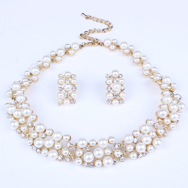 Conjunto de joias de pérolas, conjunto de joias para mulheres, contas africanas, dourado, cristal, colar dubai, fantasia 1