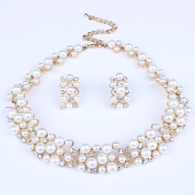האופנה פרל תכשיטי סטים לנשים אפריקאי חרוזים תכשיטי סט זהב חתונת קריסטל כלה דובאי שרשרת תכשיטי תלבושות