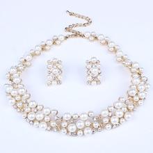 2016 New Fashion Jewelry Set Necklace Statement Stud Earrings Women imitation pearl Jewelry Set For Women Wedding Jewelry sets