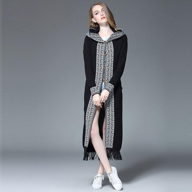 Black Long Cardigans Women Sweater 1