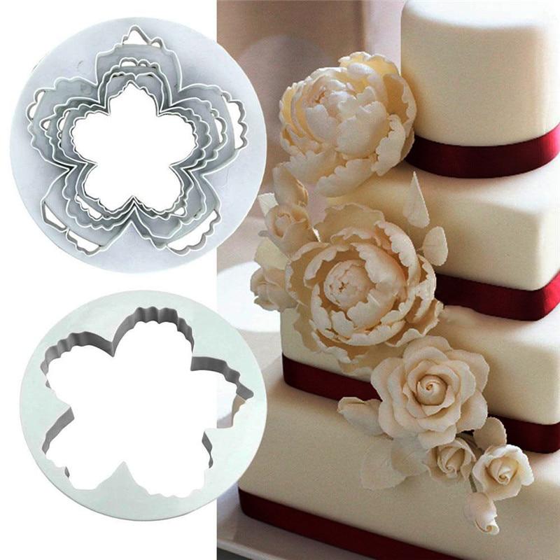 4pcs Peony Flower Cake Fondant Plunger Cutter Decorating Mold Sugarcraft 5ai