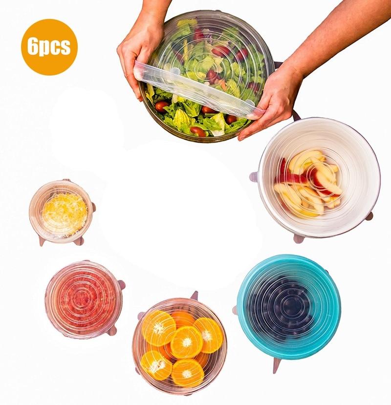 6pcs / set Silikonski pokrovi za shranjevanje hrane za skledo Silikonski pokrovi Vakuumski pokrovček Tesnilni kuhinjski dodatki