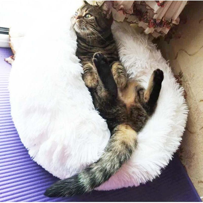 HIPET Plush Dog Cat Bed house Winter Warm Comfortable Round Deep sleep Pet cats sleeping bag Portable Kitten puppy Nest Mat Pad in Cat Beds Mats from Home Garden