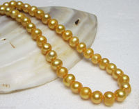 FREE SHIPPING Only 17inch 9 10mm SOUTH SEA GOLDEN PEARL NECKLACE Real Photo Noble