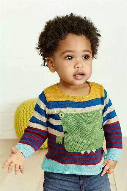 2016 New Boys Baby turned edge Sweater Little dragon stripe color matching sweater wholesale