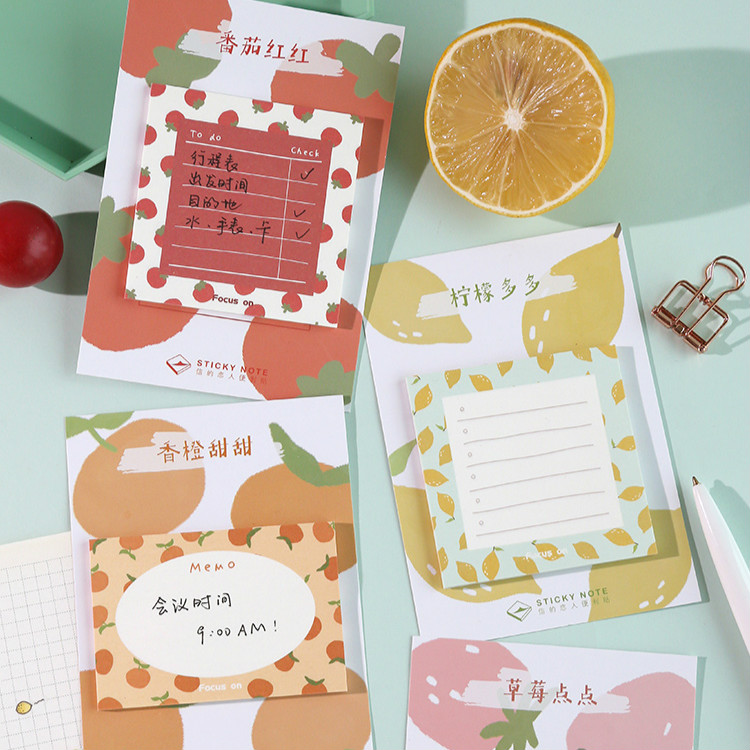 30 Sheets/pad Fresh Fruits Sticky Note Postmemo Pad Kawaii School Supplies Planner Stickers Paper Bookmarks Korean Stationery