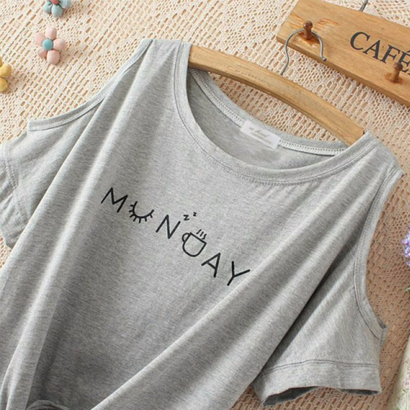 HTB1ZPQiKpXXXXXXXFXXq6xXFXXXd - Women T-shirt Elegant Letter Shoulder Off Print Crop Top Short Sleeve