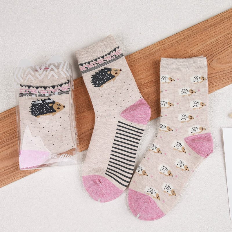 2pairs Cartoon Cat Rabbit Hedgehog Owl Mouse Penguin Squirrel Cow Pig Panda Deer Cute Animal Harajuku Funny Woman Cotton Sock