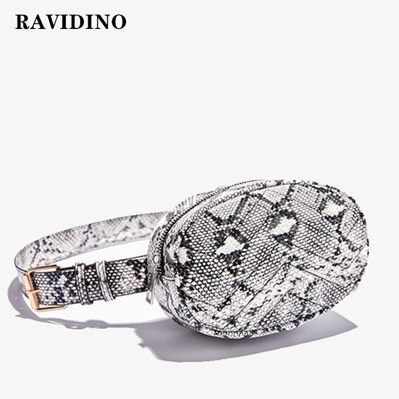 RAVIDINO Belt Bag Waist Bag Round Fanny Pack Women Luxury Brand Leather Handbag Snake 2019 Summer High Quality Drop Shipping