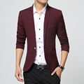 Новый 2016 Осень Повседневная Мужчины Blazer Куртка высокого качества Плед Мужские пиджаки Пальто Мужской Одна Кнопка Платье Slim Fit Костюм Куртки Homme