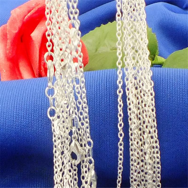 H:HYDE Wholesale 16/18/20/22/24/26/28/30 inch Necklaces Silver Color Women Jewelry Chains Necklaces 5pcs/lot