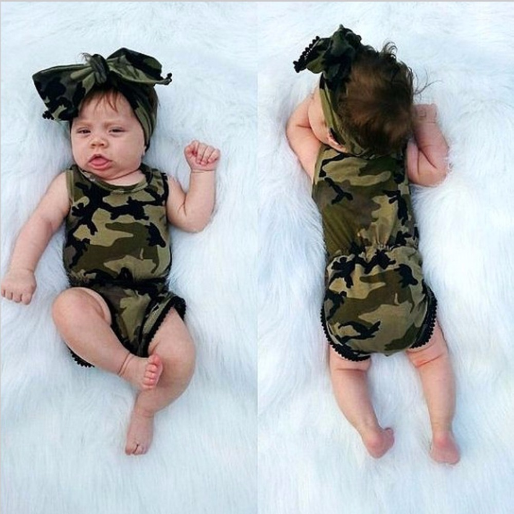 Puseky Camouflage Baby Boy Girl Rompers Toddler Baby Girls Camo
