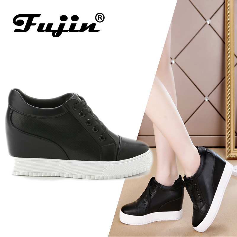 Fujin 2019 Sommar vårhöst Kvinnors äkta läderplattform Kvinnoskor Wedges Lady Casual Skor Mesh Snörpumps Sneakers