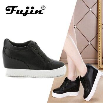 b567d186 Fujin 2019 verano primavera otoño Mujer Zapatos de plataforma de cuero  genuino mujer cuñas señora zapatos casuales zapatillas de encaje de malla