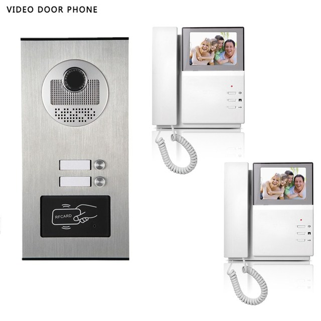 video intercom system 4.3\'\'tft lcd handset screen 2 monitor wired ...