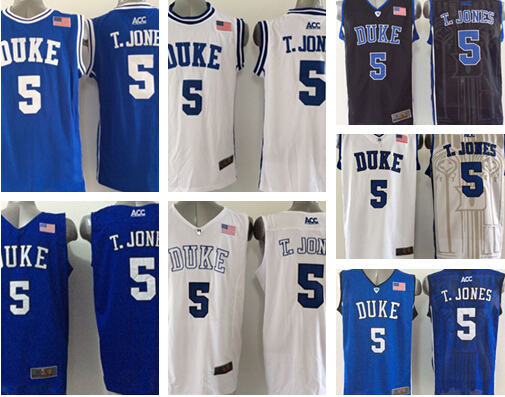 2731c03443b Wholesale  5 Tyus Jones Duke Blue Devils Black White NCAA College 5 T.Jones  Basketball Jersey Cheap 2015 New Shirt Uniform