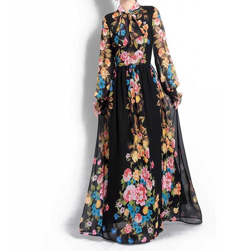 HIGH QUALITY New Fashion 2018 Designer Runway Maxi Dress Women's Long Sleeve Gorgeous Floral Printed Bow Collar Long Dress high collar long sleeve printed dress