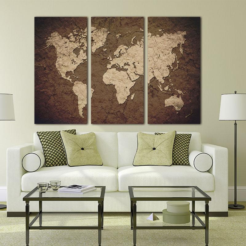 3 panely Vintage mapa světa Plátno Malba nástěnná malba Olejomalba na Canasu Home Dekor Nástěnná malba Nástěnná malba Obraz pro obývací pokoj