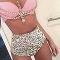 2016 Vikinii Sexy Cristal Swimwear Mulheres Maiô Strass Diamantes De Luxo Mulheres Alta Maiô Cintura Empurrar Para Cima do Biquíni Set