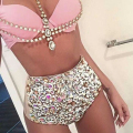 2016 Vikinii Sexy Crystal Swimwear Women Bathing Suit Rhinestone Diamond Luxury High Waist Swimsuit Women Push Up Bikini Set