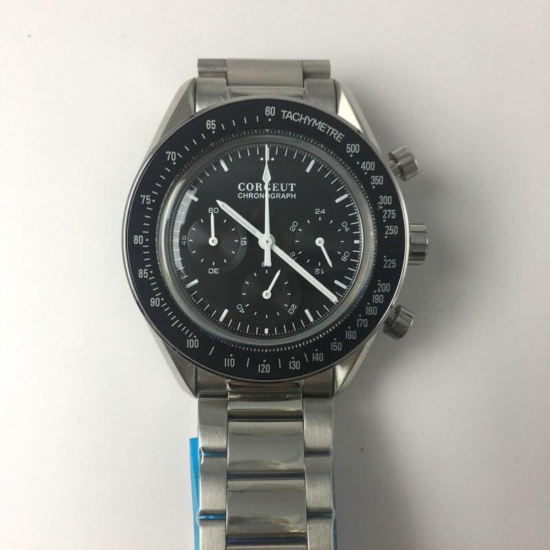 Corgeut Men Watch Sport 24 Hours Multifunction Watches Seiko Vk63 Full Steel Full Chronograph Quartz Clock Men Speedmaster-watch