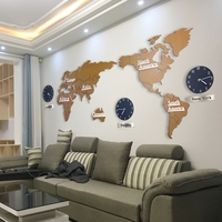 DIY 3D Wooden Large Wall Sticker Clock with World Map