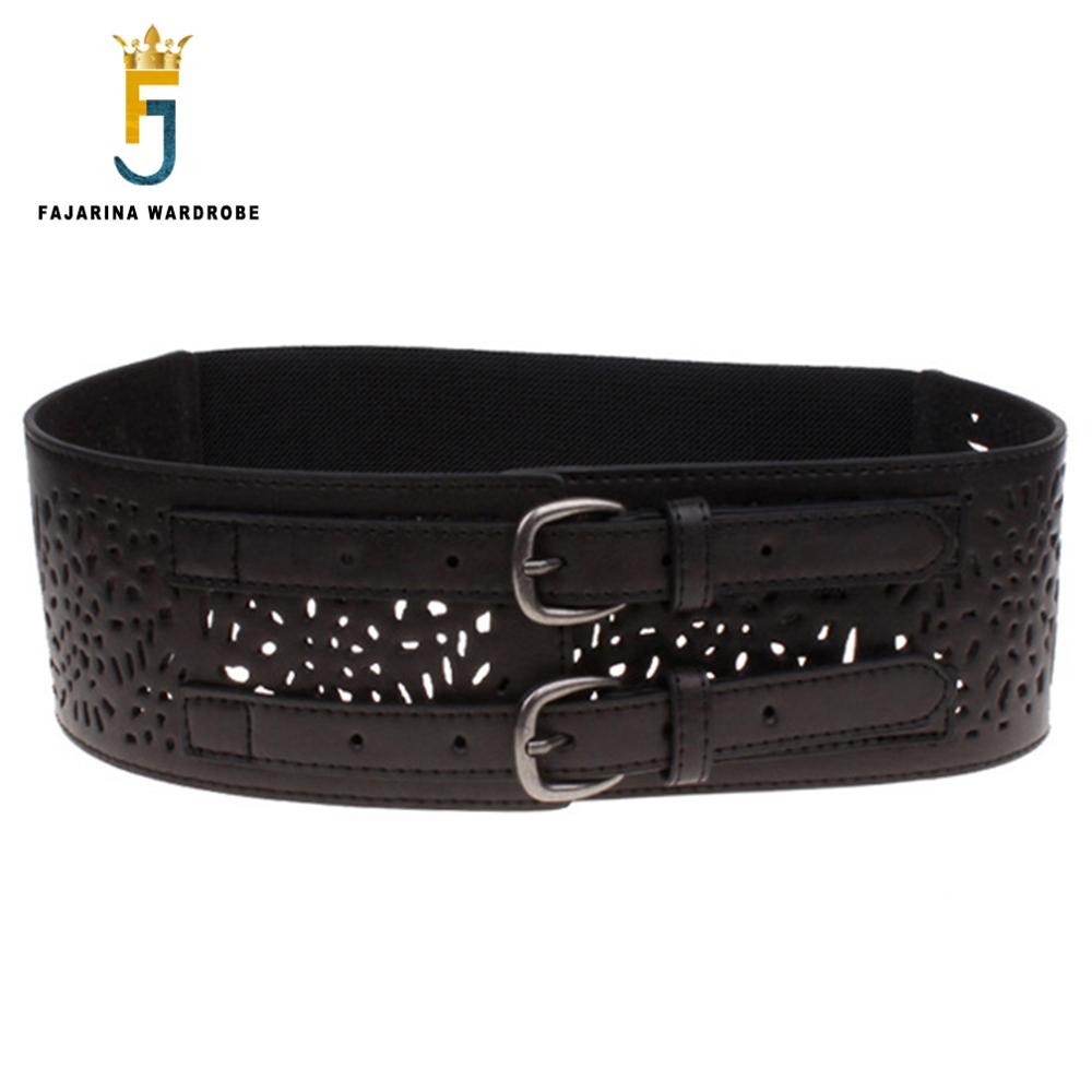 FAJARINA Ma'am Fashion Ladies Cowhide Elastic Force Waistband Leather Belts Hollow Female Style Wide Belt For Women LDFJ023