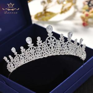 Image 2 - Bavoen Fashion CZ Crystal Brides Crown Tiara Princess Headband For Brides Wedding Hair Accessories Evening Hair Jewelry
