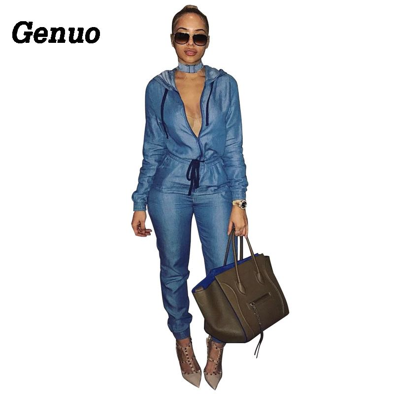 Genuo Autumn Hooded Casual Denim Jumpsuit Sexy Front Zipper Long Sleeve Blue Jeans Romper Female Elegant Loose Overalls in Jumpsuits from Women 39 s Clothing
